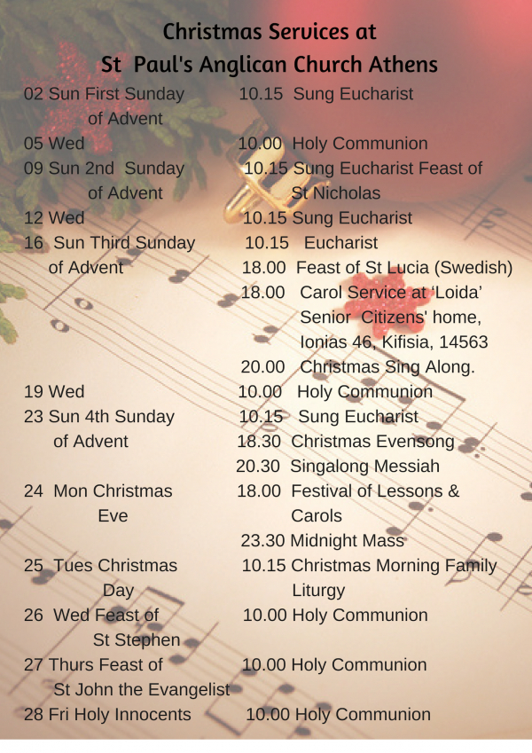 Christmas Services At St Paul's Anglican Church