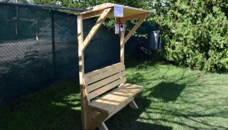 "Larissa Goes ""Green"" With First Wooden Solar-Powered Charging Bench"