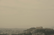 African Dust Covers Athens' Acropolis