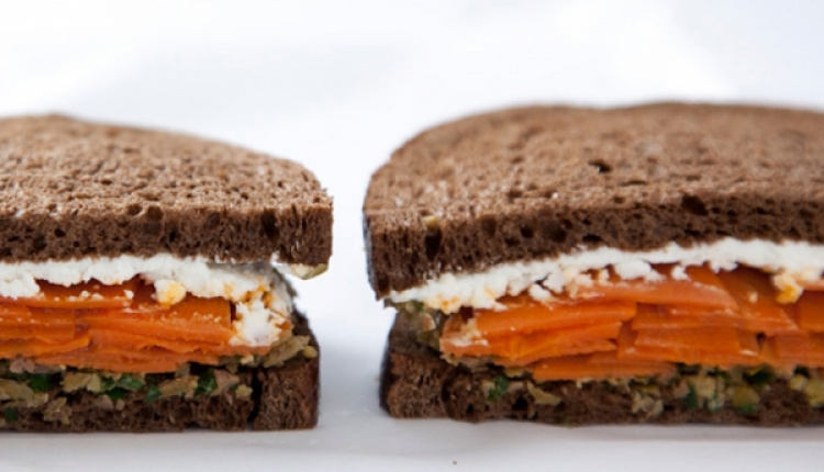 Carrot & Goat Cheese Sandwiches With Green Olive Tapenade