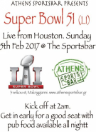 Athens Sports Bar Presents The Super Bowl