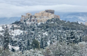 Amazing Aerial Views Of Snow-Covered Acropolis