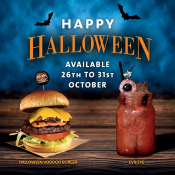 Special Halloween Burger & Cocktail